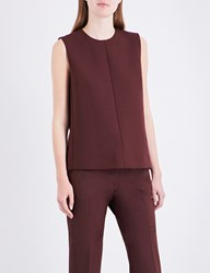 Victoria Beckham Sleeveless Crepe Top Burgundy