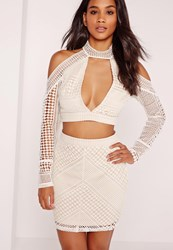 Missguided Panelled Crochet Lace Mini Skirt White White