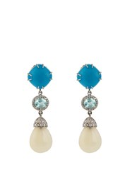 Nsr Nina Runsdorf Diamond Turquoise Opal And White Gold Earrings