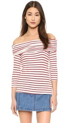 Hye Park And Lune Aimee Long Sleeve Top White Red Stripes