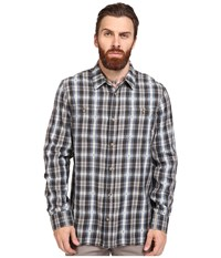 Vans Canehill Long Sleeve Flannel Blue Mirage New Charcoal Men's Clothing Multi