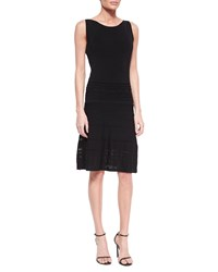 Joan Vass Sleeveless Fit And Flare Pointelle Dress Women's