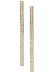 Krizia Elongated Wide Earrings Metallic