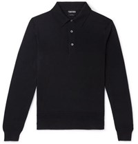 Tom Ford Slim Fit Cashmere And Silk Blend Polo Shirt Black