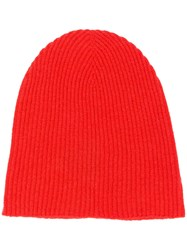Roberto Collina Cashmere Knitted Beanie Red