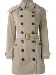 Burberry Brit Hooded Trench Coat Nude And Neutrals