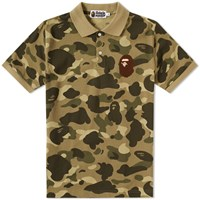 A Bathing Ape Colour Camo Large Head Polo Green
