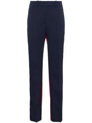 Calvin Klein 205W39nyc Contrast Panel Straight Wool Trousers Blue
