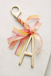 Anthropologie Ribboned Monogram Keychain Gold