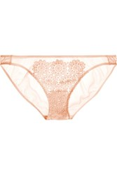 Mimi Holliday By Damaris Puffin Guipure Lace And Stretch Silk Satin Briefs Pastel Pink