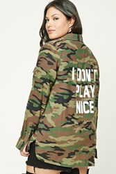 Forever 21 Plus Size Graphic Camo Shirt Black Olive
