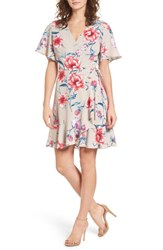 Lush Lucy Floral Wrap Dress Mauve Blue Floral