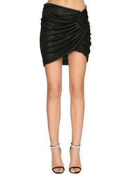 Alexandre Vauthier Draped Rib Jersey Lame Skirt Black