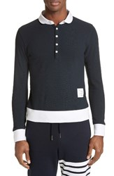Thom Browne Men's Long Sleeve Pique Polo