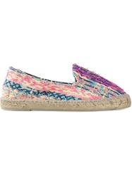 Manebi Woven Striped Espadrilles Pink And Purple