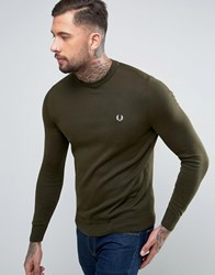 Fred Perry Crew Neck Cotton Jumper In Green Green