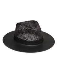 Eugenia Kim James Leather And Straw Fedora Black