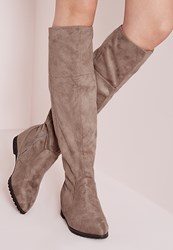 Missguided Pointed Toe Hidden Wedge Long Boots Taupe Grey
