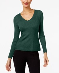 Inc International Concepts Ribbed V Neck Sweater Only At Macy's Hunter Forest