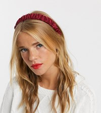 Accessorize Exclusive Ruched Headband In Burgundy Satin Red
