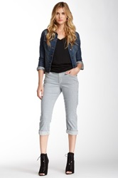 Cj By Cookie Johnson Rail Road Stripe Glory Slim Boyfriend Crop Jean Gray