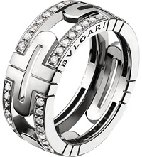 Bulgari Parentesi 18Ct White Gold And Pave Diamond Ring