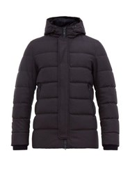 Herno Clive Felted Wool Blend Hooded Jacket Navy