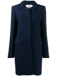 Closed Single Breasted Fitted Coat Blue