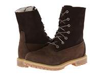 Timberland Authentics Teddy Fleece Fold Down Dark Brown Nubuck Women's Lace Up Boots