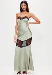 Missguided Green Satin Lace Strappy Maxi Dress