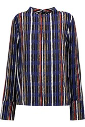 Marni Printed Silk Blouse Bright Blue