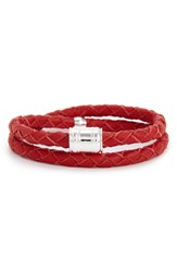 Miansai Men's Braided Leather Bracelet Red