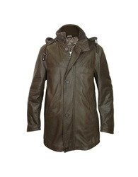 Forzieri Detachable Hood Dark Brown Leather Car Coat