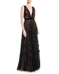 J. Mendel V Neck Sleeveless Pleated Embellished Tulle Evening Gown Black