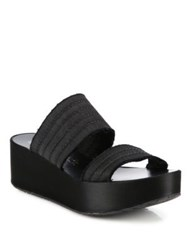 Pedro Garcia Noa Satin Wedge Platform Slides Black