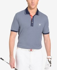 Izod Men's Preppy Oxford Print Golf Polo Shirt Peacoat