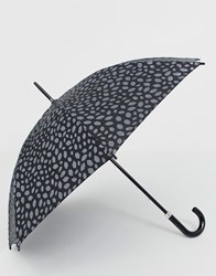 Lulu Guinness Kensington Pewter Scattered Lip Umbrella Black
