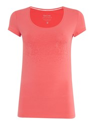 Salsa Short Sleeve Crew Neck Embellished T Shirt Pink