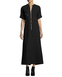 Isabel Marant Zip Front Cargo Pocket Maxi Shirtdress Black