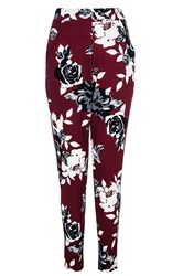 Quiz Berry Flower Print Crepe Trousers