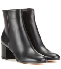 Gianvito Rossi Margaux Mid Leather Ankle Boots Black