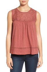 Caslonr Petite Women's Caslon Lace And Slub Knit Tank Red Jelly