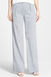 Halogen Pleat Linen Blend Wide Leg Pants Blue