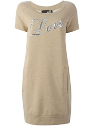 Moschino Vintage 'Love' Print Shift Dress Nude And Neutrals