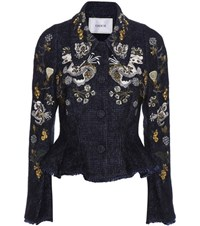 Erdem Esha Embroidered Wool Blend Jacket Blue