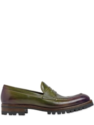 Fratelli Rossetti Hand Painted Leather Penny Loafers Purple Green