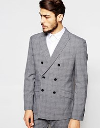 Antony Morato Double Breasted Prince Of Wales Check Suit Jacket In Slim Fit Greymarl