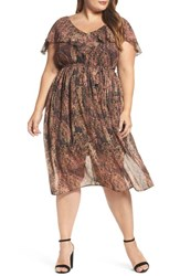 Elvi Plus Size Women's Rustic Floral A Line Dress Multi