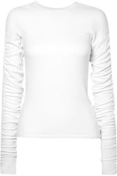 Veronica Beard Clement Ruched Ribbed Stretch Modal Top White