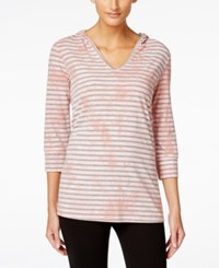 Styleandco. Style And Co. Sport Striped Tie Dyed Hoodie Top Only At Macy's